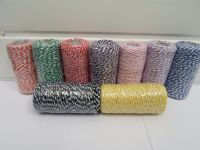 Dark Orange & White 2 metres or Full 100m Roll 1mm Bakers Twine Rope String Thread Cord White and stripe